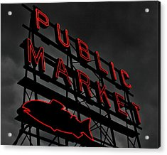Seattle's Public Market Acrylic Print by Benjamin Yeager