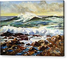 Acrylic Print featuring the painting Seawall by Lee Piper