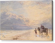 Seaweed Gatherers Acrylic Print by Myles Birket Foster