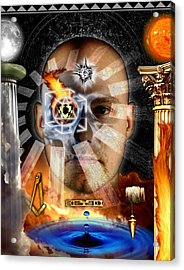 Second Degree Masonic Tracing Board Acrylic Print by Gregory Stewart