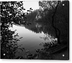 Second Lake Padden Reflection In Black And White  Acrylic Print by Karen Molenaar Terrell