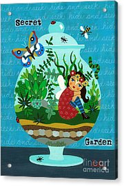Secret Garden Fairy In A Terrarium Acrylic Print by LuLu Mypinkturtle