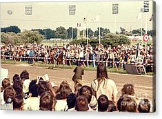 Secretariat Race Horse Coming Down To The Finish Line By Himself To Win The Big Race At Arlington R Acrylic Print