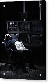Security Guard Asleep In Office Acrylic Print by Thomas Northcut