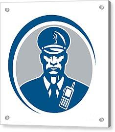 Security Guard Police Officer Radio Circle Acrylic Print by Aloysius Patrimonio