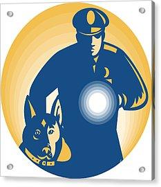 Security Guard Policeman Police Dog Acrylic Print by Aloysius Patrimonio