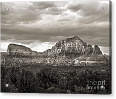 Sedona Arizona Black And White Mountains And Big Sky Acrylic Print by Gregory Dyer