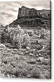 Sedona Arizona Mountain View  - Black And White Acrylic Print by Gregory Dyer