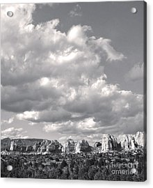 Sedona Arizona Mountains In Black And White Acrylic Print by Gregory Dyer