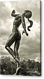 Sedona Arizona Statue In Sepia Acrylic Print by Gregory Dyer