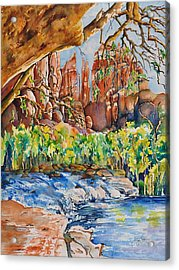 Sedona - Cathedral Rock Acrylic Print by Joy Skinner