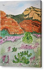 Sedona Mountain With Pears And Clover Acrylic Print