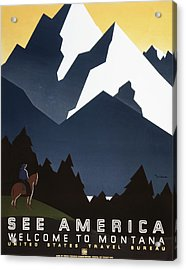 See America - Montana Mountains Acrylic Print by Georgia Fowler
