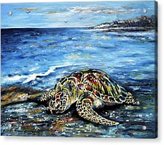 See Weed Turtle Acrylic Print