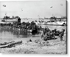 Seebee Rhino Ferries On D-day Acrylic Print by Underwood Archives