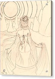 Seeing Spirits Sketch Acrylic Print by Coriander  Shea