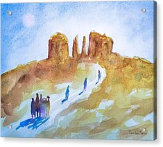 Seekers At Cathedral Rock Acrylic Print