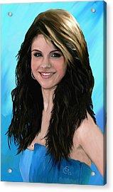 Selena Gomez Blue Acrylic Print by GCannon