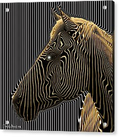 Self-conscious Attempt To Become Zebras.  2013  80/80 Cm.  Acrylic Print by Tautvydas Davainis