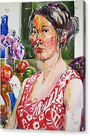 Self Portrait 9 - With Still Life Acrylic Print by Becky Kim