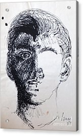 Acrylic Print featuring the drawing Self Portrait At 21 by Rod Ismay