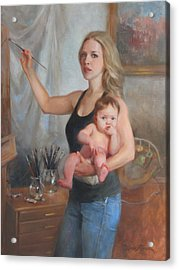 Self Portrait At 29 Acrylic Print by Anna Rose Bain