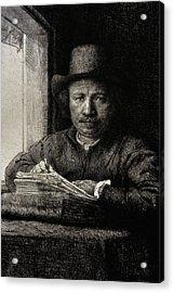 Self-portrait Etching At A Window Acrylic Print