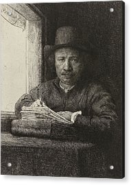Self-portrait Etching At A Window Acrylic Print by Rembrandt
