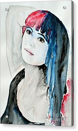 Acrylic Print featuring the painting Self Portrait  by Ismeta Gruenwald