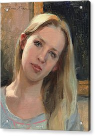 Self Portrait On A Saturday Acrylic Print by Anna Rose Bain