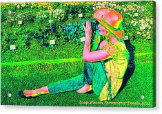 Self Portrait On The Arboretum Grounds In Spring Acrylic Print by ARTography by Pamela Smale Williams