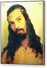 Acrylic Print featuring the mixed media Self Portrait The Elven King Jesus by Shawn Dall