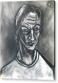 Acrylic Print featuring the drawing Self-portrait Wearing T-shirt - 1983 by Kenneth Agnello
