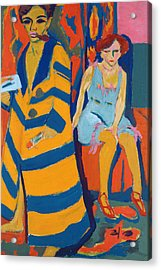 Self Portrait With A Model Acrylic Print by Ernst Ludwig Kirchner