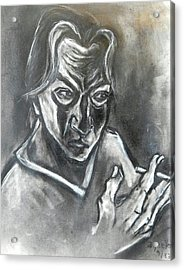 Acrylic Print featuring the drawing Self-portrait With Hand Holding Cigarette by Kenneth Agnello
