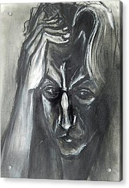 Acrylic Print featuring the drawing Self-portrait With Hand On Head - 1983 by Kenneth Agnello