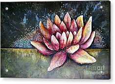 Self Portrait With Lotus Acrylic Print by Shadia Derbyshire