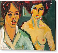 Self Portrait With Model Acrylic Print by Ernst Ludwig Kirchner