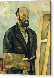 Self Portrait With Palette Acrylic Print by Paul Cezanne