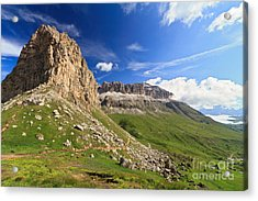 Acrylic Print featuring the photograph Sella Mountain And Pordoi Pass by Antonio Scarpi