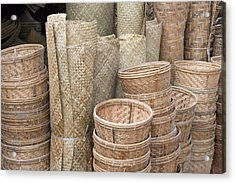 Selling Bamboo Baskets And Sheets Acrylic Print by Keren Su