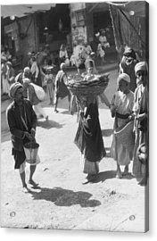 Selling Bread In Baghdad Acrylic Print by Underwood Archives
