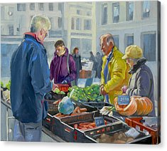 Selling Vegetables At The Market Acrylic Print by Dominique Amendola