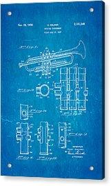 Selmer Trumpet Patent Art 1939 Blueprint Acrylic Print by Ian Monk