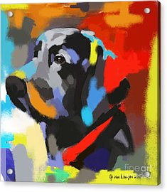 Acrylic Print featuring the painting Dog Sem by Go Van Kampen