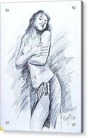 Acrylic Print featuring the painting Semi Nude by Ragunath Venkatraman
