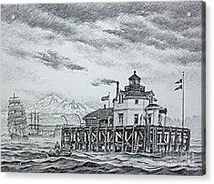 Semiahmoo Lighthouse - Drawing Acrylic Print by James Williamson