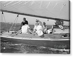 Senator John F. Kennedy With Jacqueline And Children Sailing Acrylic Print by The Harrington Collection