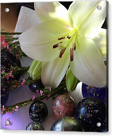 Acrylic Print featuring the photograph Send The Light Lily With Marbles by Bonnie Willis