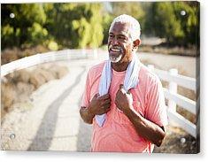 Senior Black Man After Workout Acrylic Print by Adamkaz